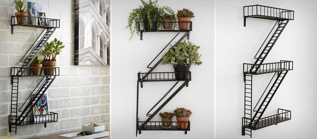 Design Ideas Decorative Storage Fire Escape Shelf