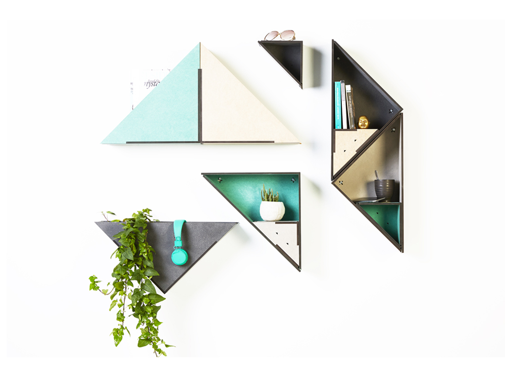 Aveva Decorative Storage Raw Triangle Shelves